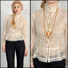 victorian lace sheer Gunne Sax blouse