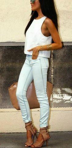 White crop top and rolled up, light wash jeans. Would love this look for going out. Definitely can find those pieces at forever 21 http://www.studentrate.com/itp/get-itp-student-deals/Forever21-Student-Discounts--/0