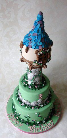 Isabella's 2-tier Disney Tangled Tower Birthday Cake by RubyteaCakes, via Flickr