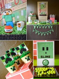 Minecraft party with a vintage twist! So many cute ideas! Via Kara's Party Ideas KarasPartyIdeas.com #minecraft #party #ideas #supplies #decorations #favors #cake #cupcakes #idea