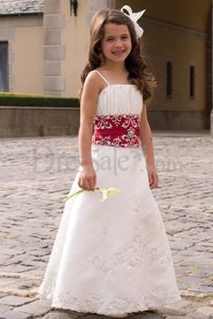 New Style Spaghetti Belted Satin Flower Girl Dress $118.99