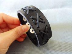 Adjustable Leather Bracelet/Couple bracelets Black by sevenvsxiao, $7.00