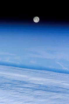 'Snow Moon' Over Earth (NASA, International Space Station