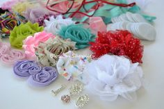 What a fun new baby shower idea! Create a headband making craft station for your guests to design the new baby a headband!     You will receive enough supplies to design 20 headbands perfect for every day wear, photo props, or any special occasion! Shabby flowers and bows come attached to netting that will need to be trimmed.