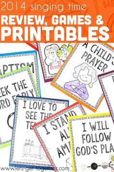 A set of free printables of the 2014 LDS Primary songs that will be sung in the Primary program. The printables can be used as a matching game or in another fun game that uses fly-swatters or as signs to let the kids know which song is coming next in the Primary program. The post also includes a PDF of the 2014 Primary songs, all merged and in one location, ready to print (to pass out to teachers or whoever might need copies at rehearsals or whatever). #singingtime #primary #primaryprogram