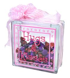 Hugs & Kisses Glass Block