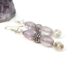 Amethyst Earrings with Wire Spirals Purple Earrings by adiencrafts, $12.00