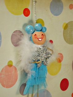 retro inspired snowflake pixie doll ornament christma ornament, inspir snowflak, doll ornament