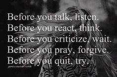 Before you talk!