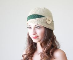 Womens knit hat, Lucy Hat with a button, Cream and green winter beanie for women, hand knitted hat for women