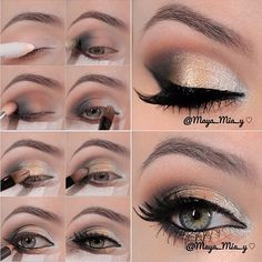 "Gold Smokey Eye pictorial by ✨@maya_mia_y✨ Lashes are #houseoflashes ""feline"""