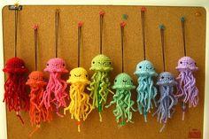 craft, baby mobiles, color, crochet, octopus, yarn, rainbow, amigurumi, jellyfish