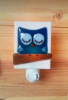etsy Nightlight owl, fused glass, blue, baby, room decoration, nursery, shower gift, kid room, children