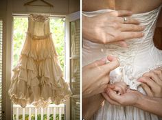 Eco Wedding Dresses - this bride rented her wedding gown