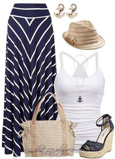 Thinking warm thoughts... Nautical/Beachy outfit on polyvore