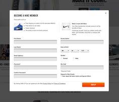 Nike.com sign up form.