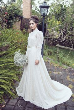 High neck vintage wedding gown by Maggie May