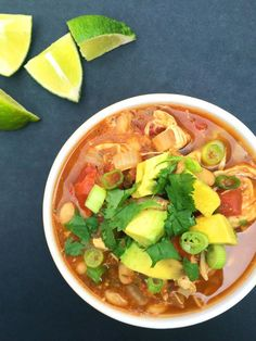 Slow Cooker White Bean Chicken Chili - The Lemon Bowl #chicken #crockpot #chili