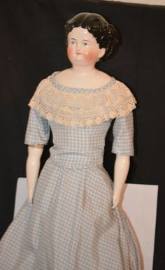 Old Doll China Head Center Part Pink Tint Brush Strokes