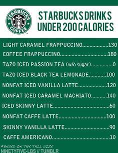 Starbucks low calorie drinks!