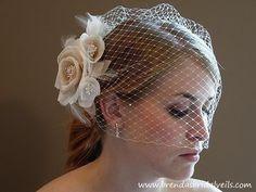 Ivory Blusher Birdcage Veil - Brendas Bridal Veils, Etsy