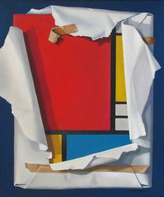 """Mondrian Revealed"" - Tom Miller, acrylic on canvas, 2014; Canada {contemporary pop art wrapped geometric painting} Every graphic artist pays homage to Dutch painter Pieter Cornelis ""Piet"" Mondriaan, (1872–1948) when laying out a page grid. #arthistory"