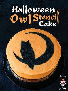 Samain:  #Halloween #Owl #Stencil #Cake, for #Samain.