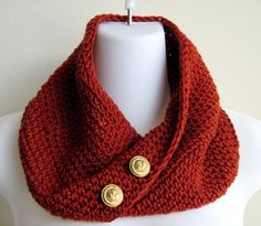 Scrolling Infinity Scarf In Paprika w/ Brass Buttons