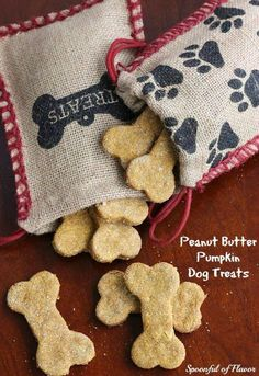 Peanut Butter Pumpkin Dog Treats - one bowl and a few ingredients create a wholesome treat for dogs!...