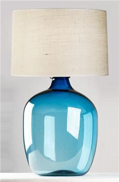Lovely Beautiful Vintage Powder Blue Quilted Glass Table Lamp Base EBay