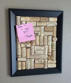 Wine Cork Bulletin Board -- Wine Cork Crafts