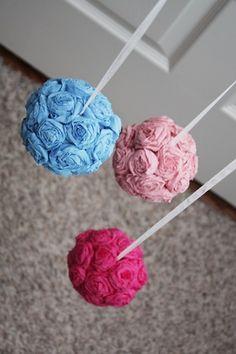 rosette flowers balls using wiffle balls from dollar store! (much cheaper than styrofoam balls)