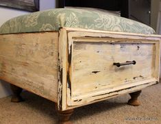 Old drawer with cushion for foot stool-has lift up cushion for storage underneath