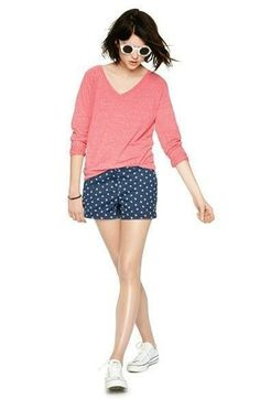 Weekend wear - Love this cute coral sweater paired with mini anchor print shorts.