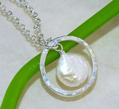 Freshwater Pearl and Sterling Silver Pendant by emmasjewels, $30.00