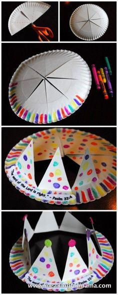 paper crown kids, kings and queens crafts, paper crowns for kids, vbs crafts, queen esther crafts, crown tutorial, paper plates, paper plate crowns, king/queen crafts for kids