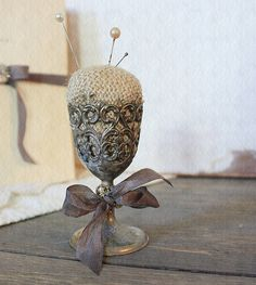burlap pincushion in vintage silver plate cup