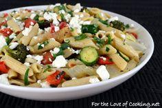 Roasted Veggie Pasta Salad with Lemon and Feta