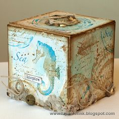 Layers of ink - Nautical Artist Trading Block Tutorial, made with Art Journey and Darkroom Door stamps, Sizzix die by Eileen Hull and Distress Ink.