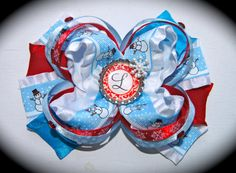 Blue and Red Christmas Bow