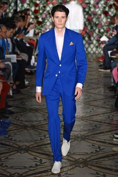 Richard James Spring-Summer 2013 | Garden Soiree chic in head -toe Cerulean suiting #LCM #LMFW
