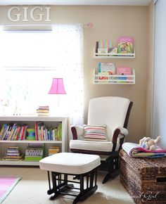 Love the wall color and furnishings in this baby's room. No baby pink/baby blue/baby yellow/baby green. via Centsational Girl (http://www.centsationalgirl.com/2012/04/gigis-room-nursery-essentials/)