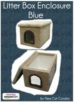 "Litter Box Enclosure - Blue by New Cat Condos - Carpeted outside and laminate inside for your cat's bathroom break. One of the easiest kitty litter boxes to clean and take care of. Easy to lift off lid Easy to clean Stain Resistant Extremely Sturdy Construction - Inside dimensions: 32""L x 19""W x 19""H Outside dimensions: 33""L x 21""W x 19""H Opening: 9""H x 8""W - Price: $119.99 -  #catlitterboxfurniture #cat #litter #box #furniture - http://www.catbedandtoy.com/cat-litter-box-furniture"