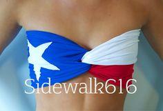 Texas Flag Bandeau Top Spandex Bandeau Bikini Red by Sidewalk616
