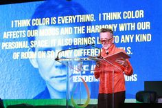 Benjamin Moore's 2014 HUE Awards: Simon Doonan, Creative Ambassador-at-Large of Barneys New York, hosts the 2014 Benjamin Moore HUE Awards Monday, Sept. 29, 2014 at the Highline Ballroom in New York. (Photo by Amy Sussman/Invision for Benjamin Moore/AP Images)