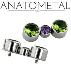 Custom Threaded Gem Ends in ASTM F-136 titanium with synthetic Peridot and synthetic Amethyst gemstones