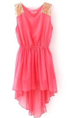 Red Sequined Shoulder Sleeveless Dipped Hem Dress