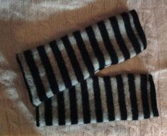 black gray striped cashmere Fingerless by mcleodhandcraftgifts