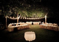 elegant party wedding event bistro lights via beehive events - For more ideas and inspiration like this, check out our website at www.theweddingbelle.net
