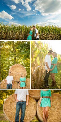 romantic fall engagement on an ohio farm